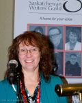 Marie presenting at the Saskatchewan Writers Guild