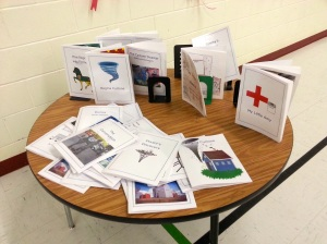 Books created by students at Sedley School after a workshop by Marie